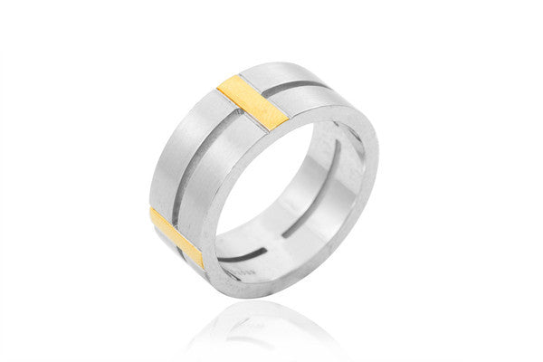 14K Bi-Colour Extra Thick Centre Split 9mm Wedding Ring