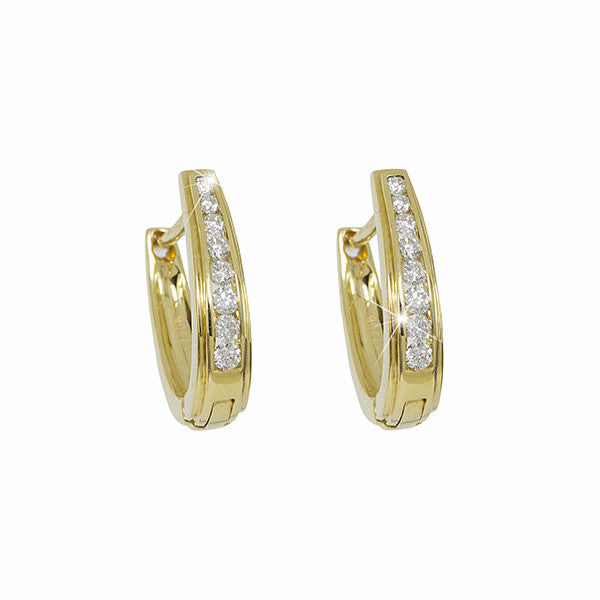 Diamond 18K Yellow Gold Hoop Earrings - OUT OF STOCK