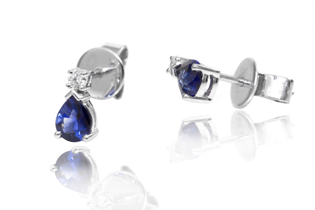 Sapphire and Diamond 18K White Gold Stud Earrings