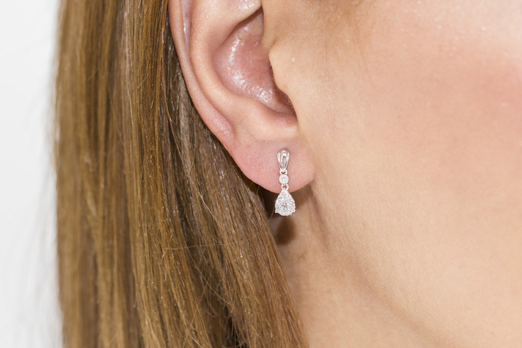 Diamond Drop Shaped 18K White Gold Earrings - OUT OF STOCK