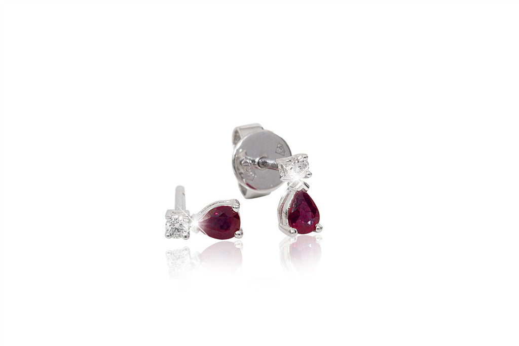 Ruby and Diamond Stud 18K White Gold Earrings - OUT OF STOCK