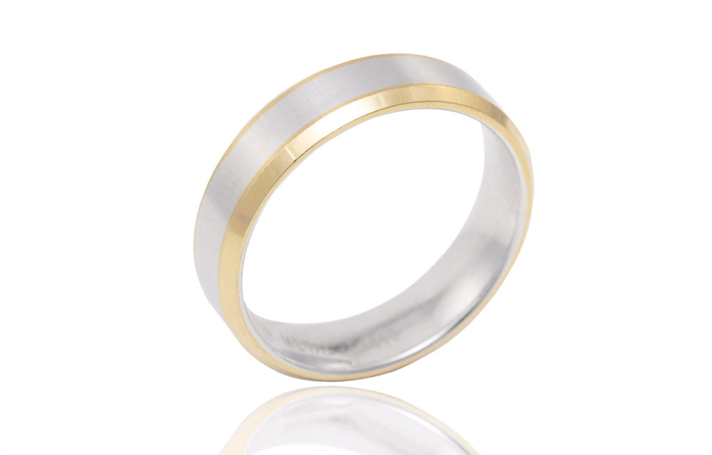 14K Bi Colour Flat Bevelled Edge 6mm Wedding Ring