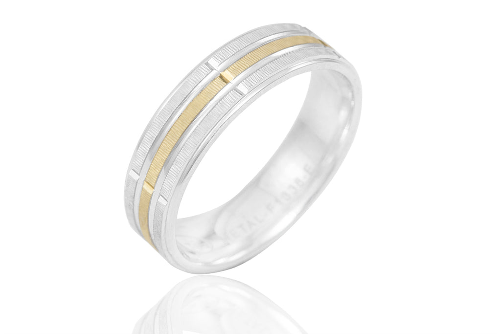 18K Machine Made Jagged Surface Reflective 6mm Wedding Ring