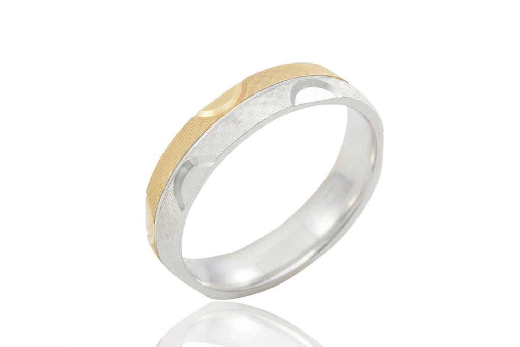 14K Bi-Colour Jagged Surface 5mm Wedding Ring