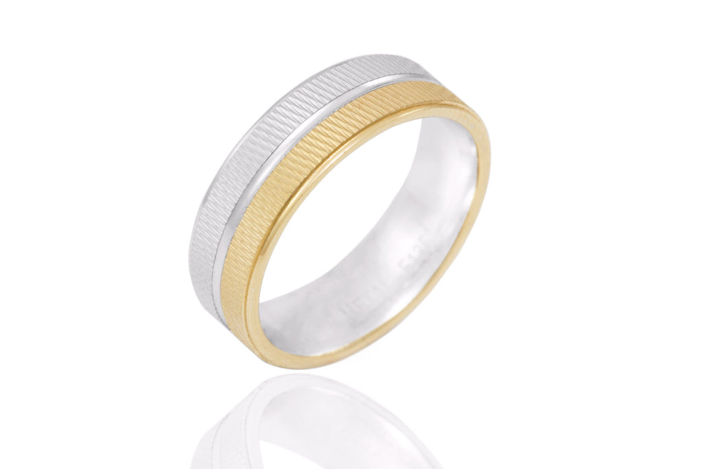 18K Bi Colour Jagged Surface 6mm Wedding Ring