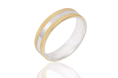 14K Bi Colour Jagged Edge 6mm Wedding Ring