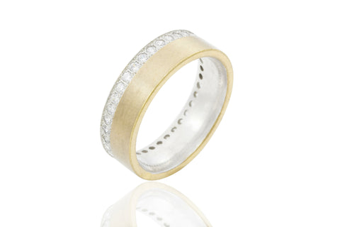 14K Bi-Colour Jagged Edge 6mm Diamond Wedding Ring
