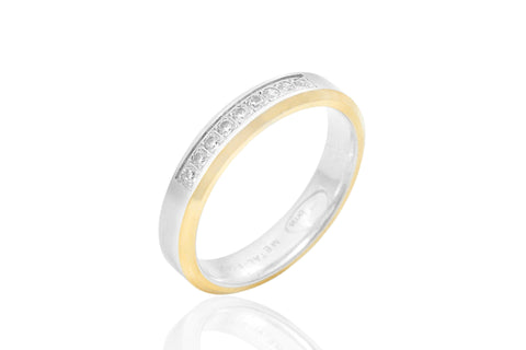 14K Flat Bi-Colour Bevelled Edge Diamond 4mm Wedding Ring