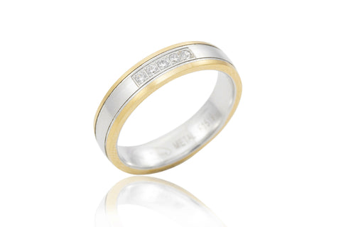 14K Bi-Colour Near Flat Diamond 4.50mm Wedding Ring