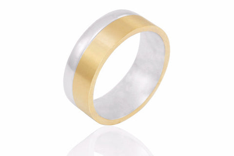 14K Bi Colour Extra Thick Single Edge 8mm Wedding Ring