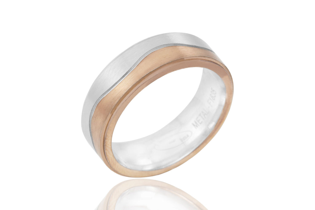 9K Bi Colour Centre Wave 6.5mm Wedding Ring