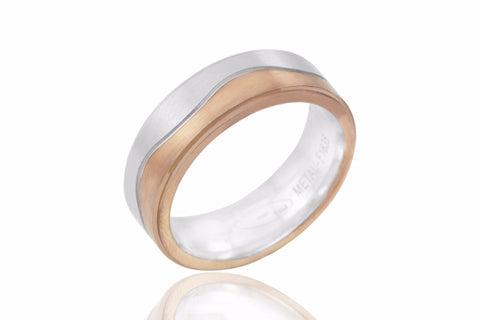 14K Bi Colour Centre Wave 6.5mm Wedding Ring
