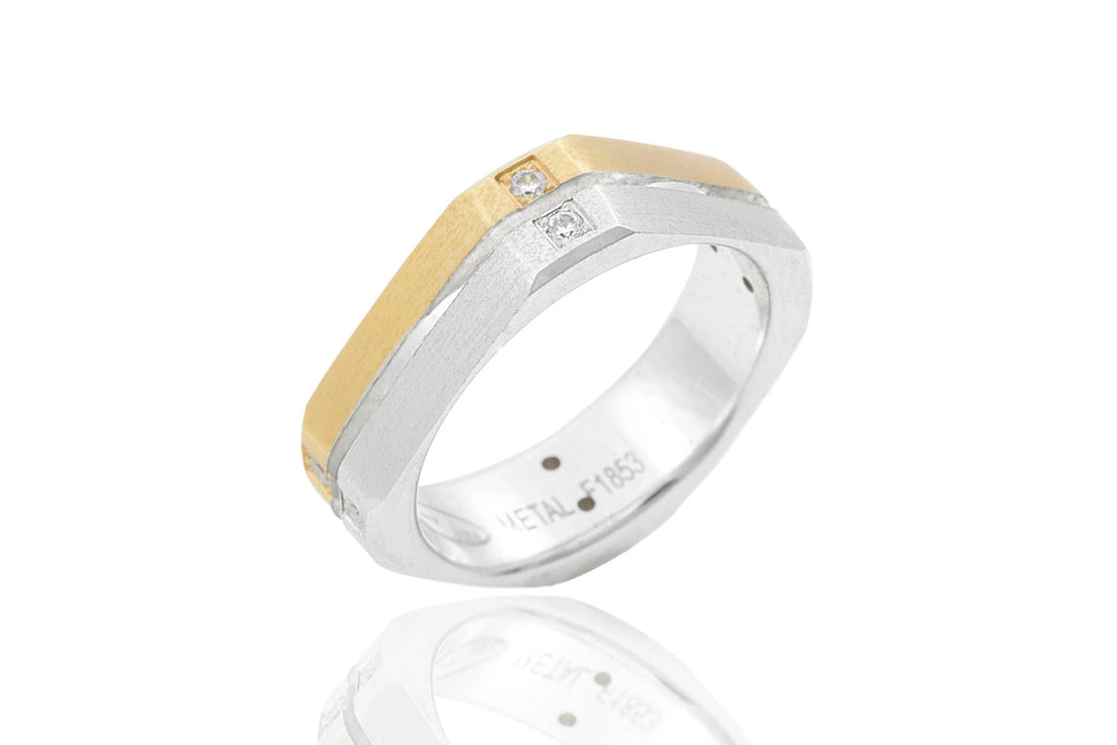 14K Bi-Colour with Polished Centre Groove Diamond 6mm Wedding Ring