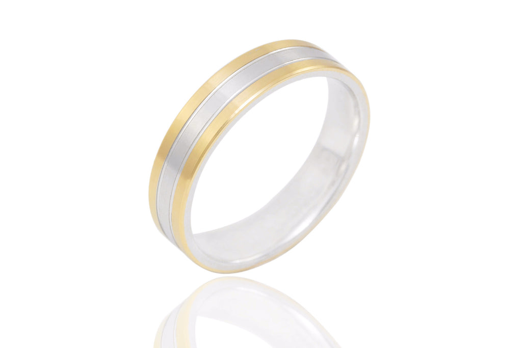 18K Bi Colour Flat with Shiny Groove 5mm Wedding Ring
