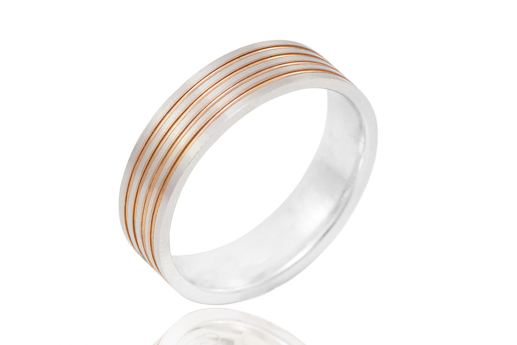 18K Flat Bi Colour Multi Groove 6mm Wedding Ring