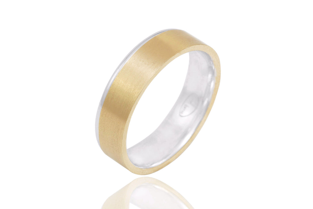 14K Bi Colour Polished Mat with Shiny Edge 6mm Wedding Ring