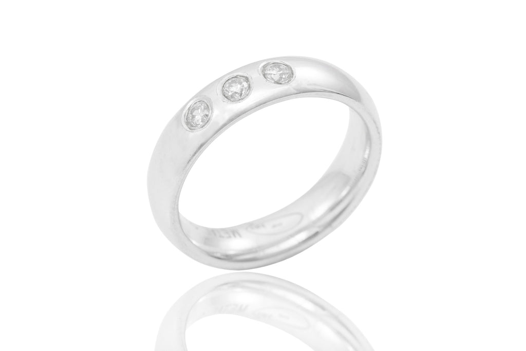14K Rub Over Trilogy Diamond 5mm Wedding Ring