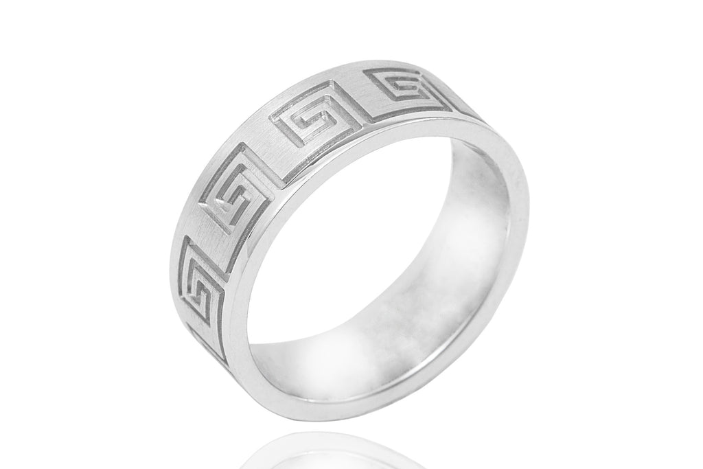 18K Polished Mat Celtic Design 6.5mm Wedding Ring