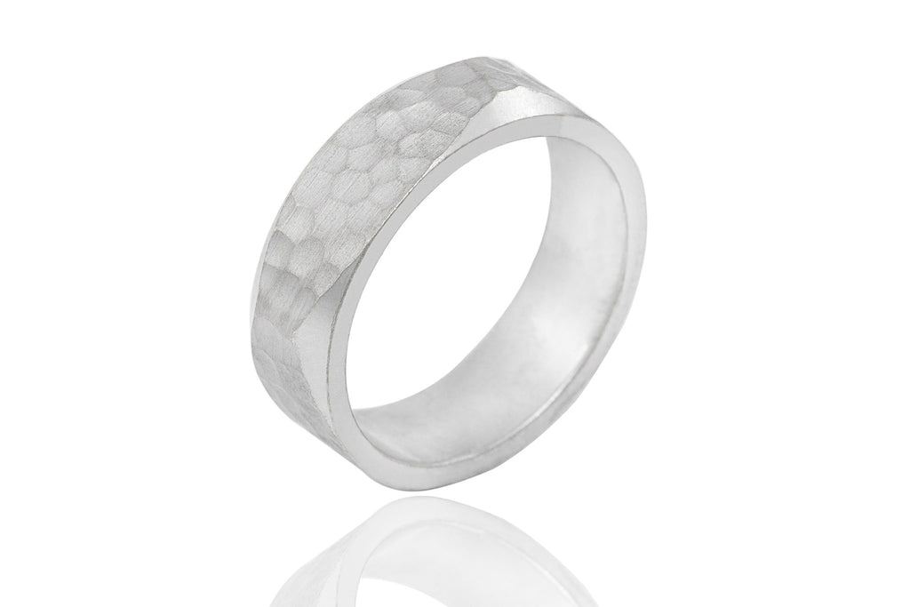 9K Polished Mat Extra Thick Hammer Effect 6mm Wedding Ring