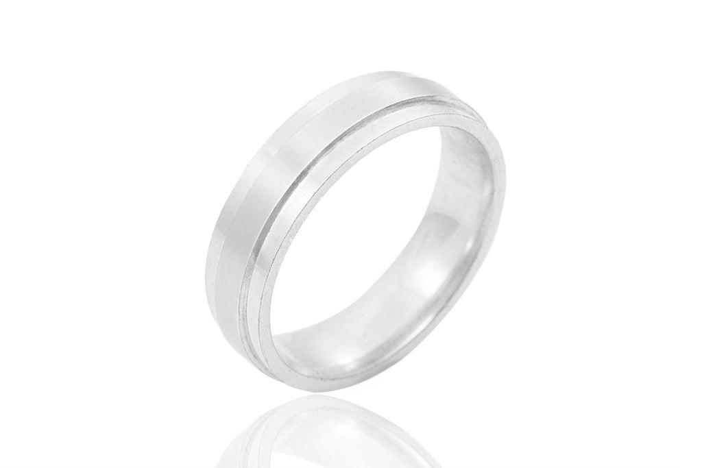 18K Polished Mat Raised Centre 6mm Wedding Ring