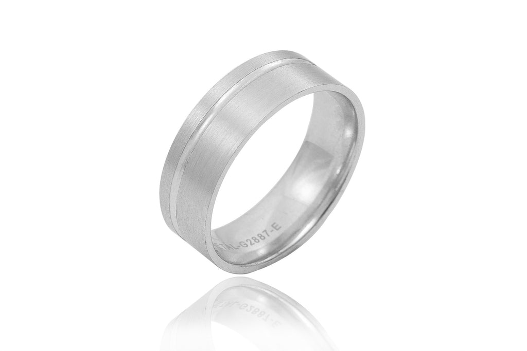 9K Polished Mat with Off Centre Shiny Groove 7mm Wedding Ring
