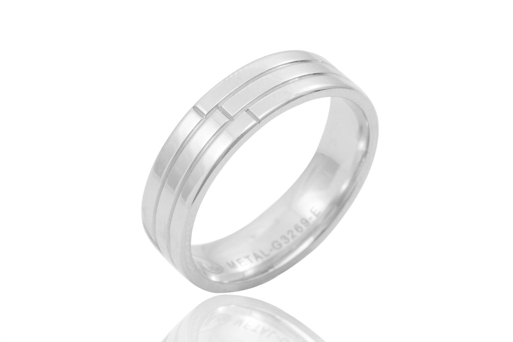 18K Polished Groove 6mm Wedding Ring