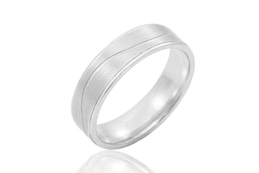 9K Groovy Polished Mat and Shiny 6mm Wedding Ring