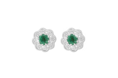 Emerald and Diamond Cluster 18K White Gold Stud Earrings