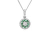 Emerald and Diamond Halo 18K White Gold Pendant
