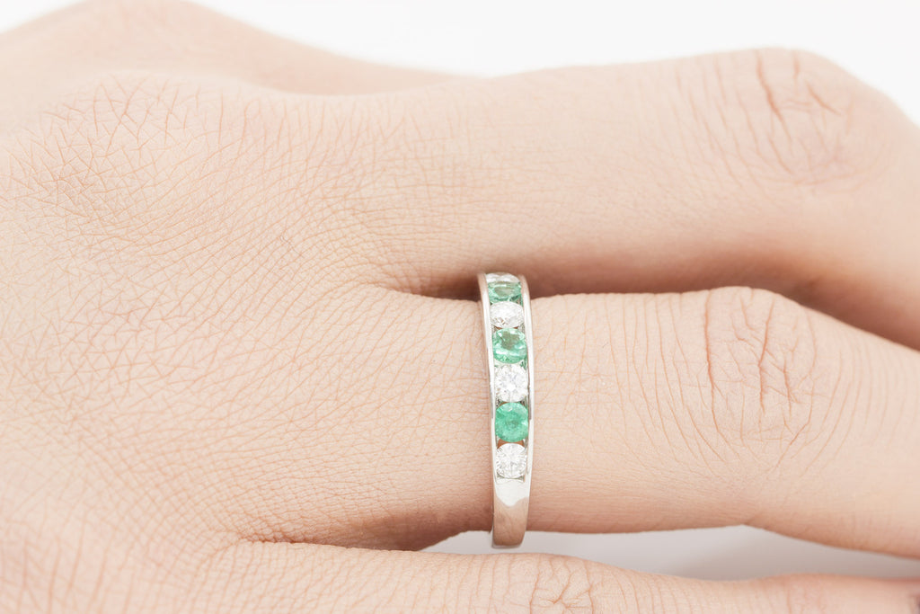 Round Cut Emerald and Diamond Half Eternity 18K White Gold Ring