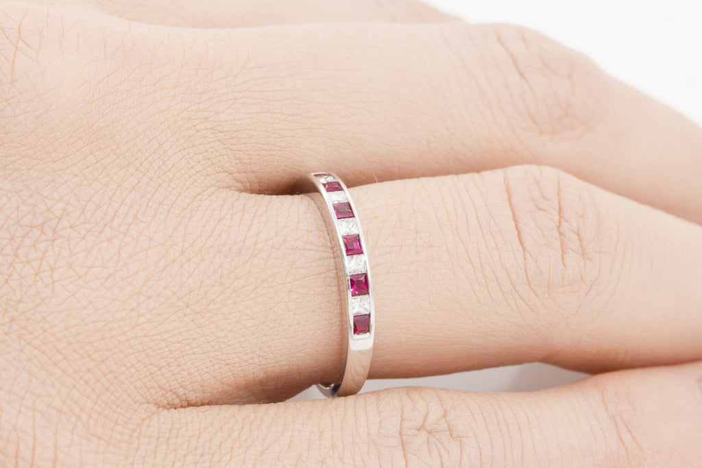 Princess Cut Ruby and Diamond Half Eternity 18K White Gold Ring
