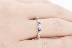 Vintage Look Blue Sapphire and Diamond 18K White Gold Ring - OUT OF STOCK
