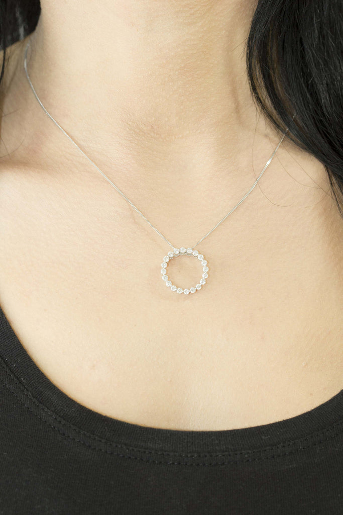 Diamond Circle Shaped 18K White Gold Pendant - OUT OF STOCK