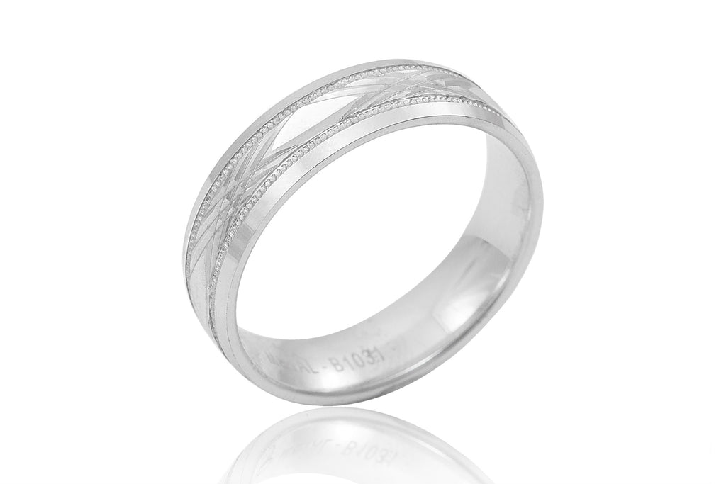 18K Machine Made Motif 6mm Wedding Ring