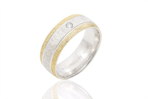 14K Bi Colour Brushed Surface Diamond 7mm Wedding Ring