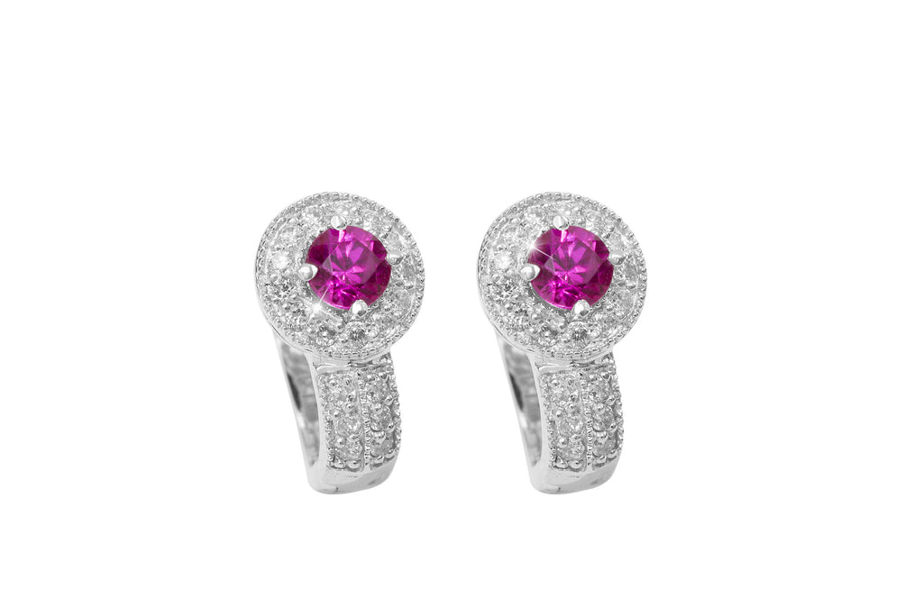 Ruby and Diamond 18K White Gold Earrings - OUT OF STOCK