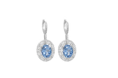 Topaz and Diamond 2 Row Halo 18K White Gold Dangly Earrings