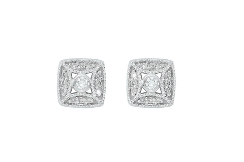 Diamond Fligree 18K White Gold Stud Earrings - OUT OF STOCK
