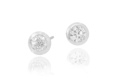 Rub Over Diamond 18K White Gold Stud Earrings - OUT OF STOCK
