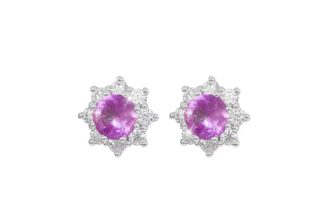 Pink Sapphire and Diamond Cluster 18K White Gold Stud Earrings