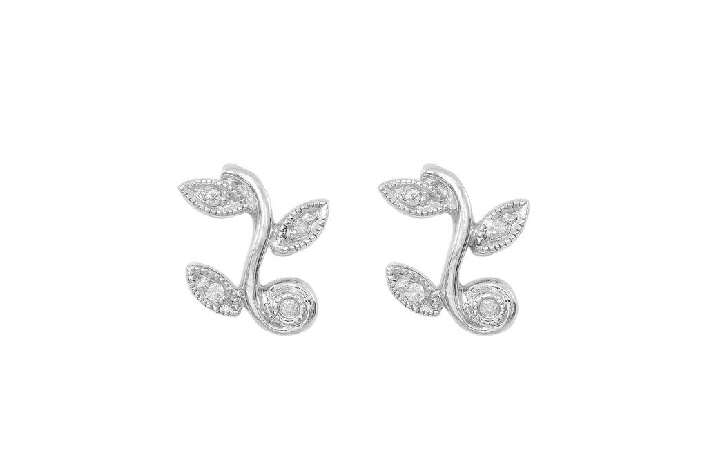Diamond Leaf 9K White Gold Stud Earrings - OUT OF STOCK