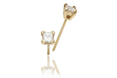 Princess Cut Diamond 18K Yellow Gold Stud Earrings - OUT OF STOCK