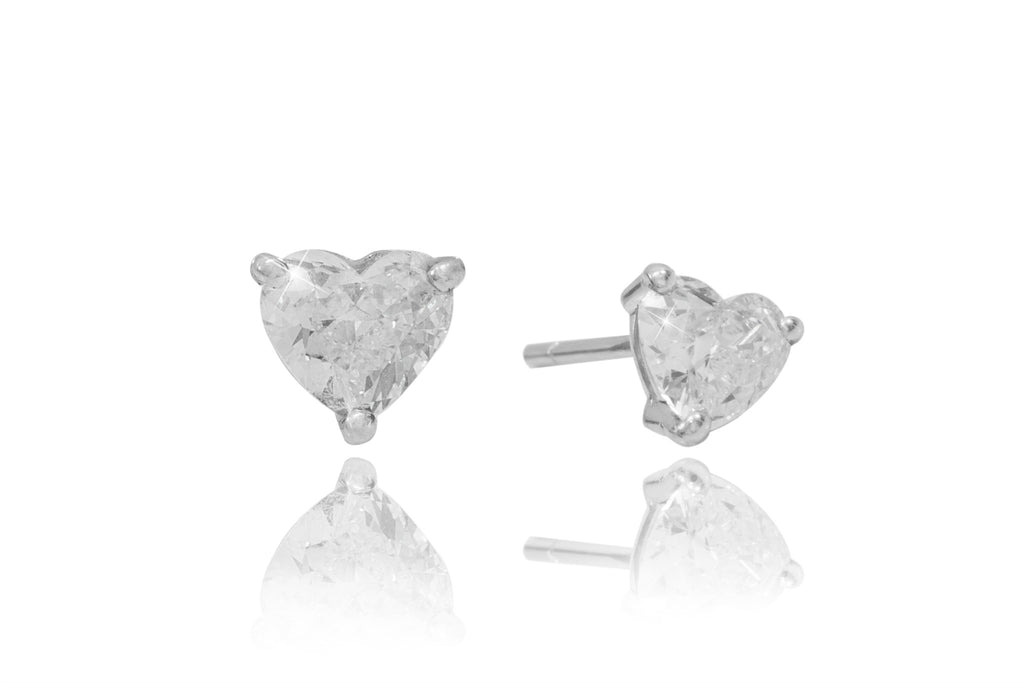 Diamond Heart Cut 18K White Gold Stud Earrings - OUT OF STOCK