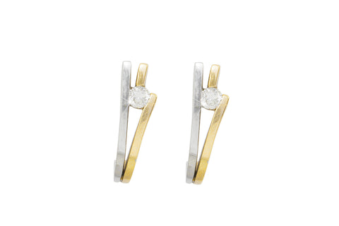 Diamond 18K White and Yellow Gold Half Hoop Earrings - OUT OF STOCK