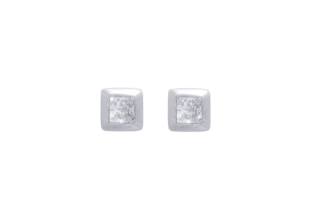 Rub Over Princess Cut Diamond 18K White Gold Stud Earrings - OUT OF STOCK