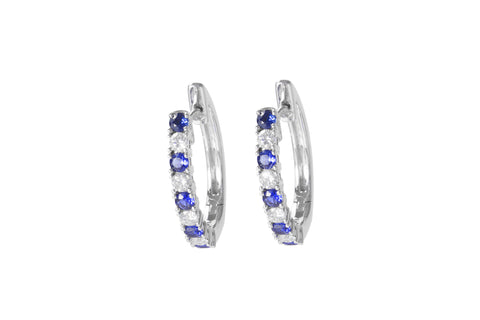 Blue Sapphire and Diamond 18K White Gold Hoop Earrings