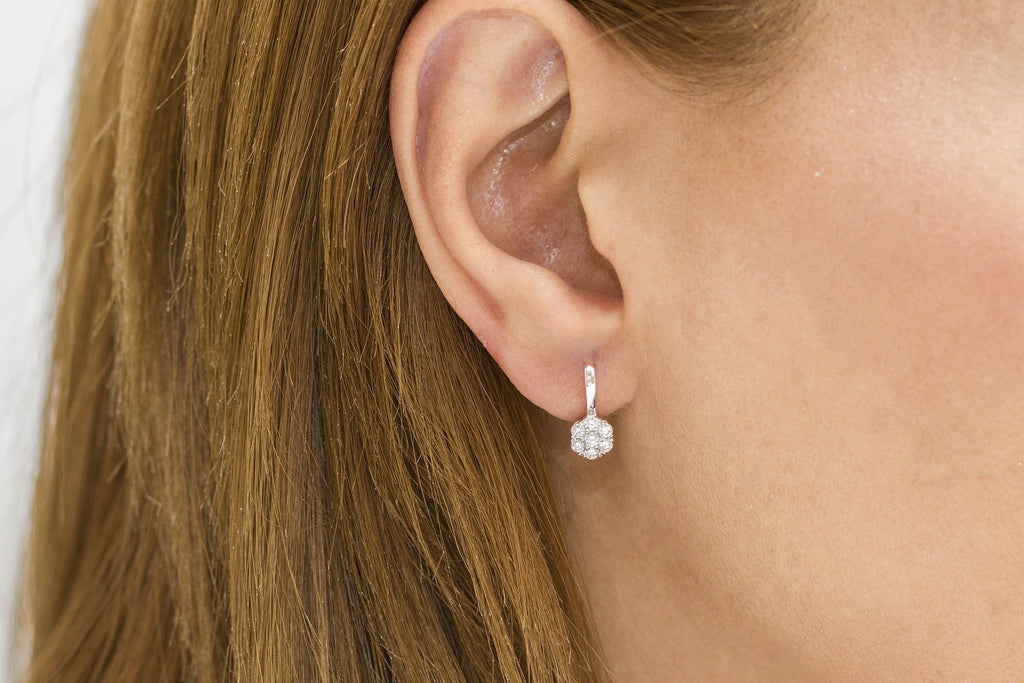 Diamond Cluster 18K White Gold Earrings - OUT OF STOCK