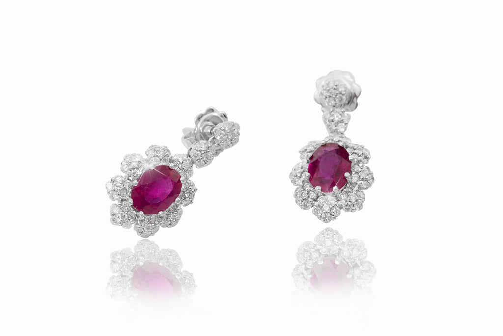 Ruby and Diamond 18K White Gold Dangly Earrings - OUT OF STOCK