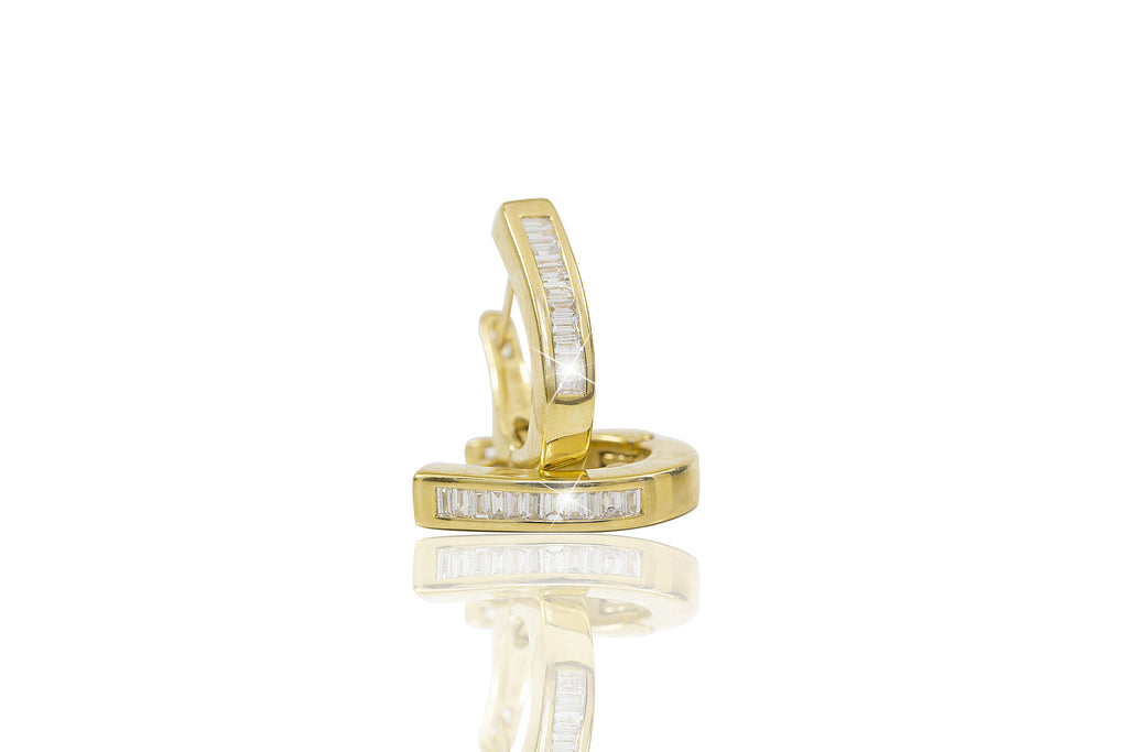 Baguette Cut Diamond 18K Yellow Gold Hoop Earrings