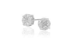 Multi Stone Diamond Illusion Set 18K White Gold Stud Earrings